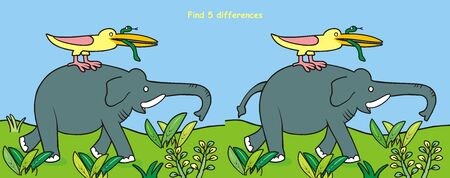 Elephant, bird and snake in nature, find 5differences, game, vector illustration