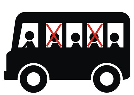 Safe distances between people on the bus, black silhouette, vector icon