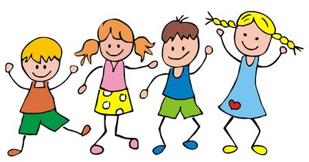 Four jumping kids, funny illustration, vector