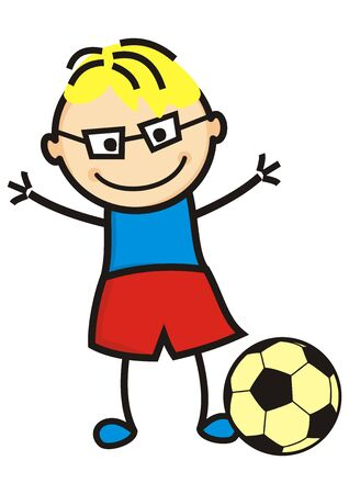 Football player, boy and soccer ball, vector illustration
