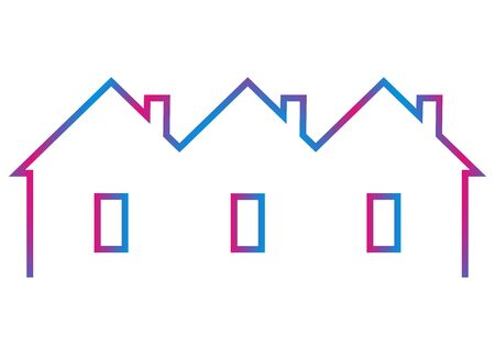 terraced house, vector icon, rainbow contour