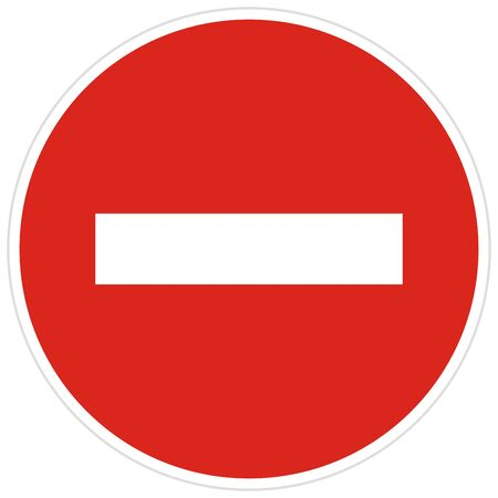 ban on entry of all vehicles, red circle prohibition sign, stop symbol Иллюстрация