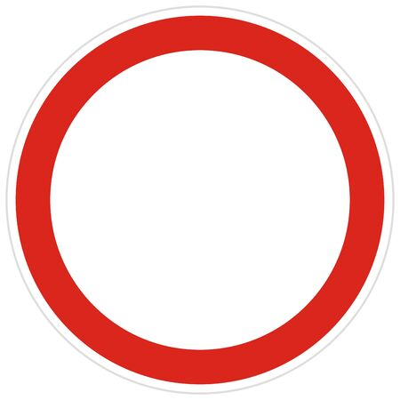 No entry road sign vector illustration. Not allowed sign isolated on white background. No entry of all vehicles in both directions.