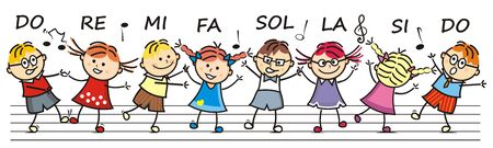 Singing and dancing children, at the background are stave and music notes, vector icon