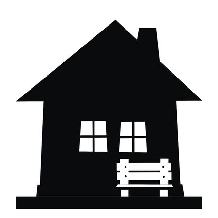 House and bench, black silhouette, vector icon