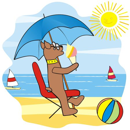 Dog on beach, funny vector illustration. Dog with ice cream sit on chair. At background is sea with sailboat, sky and sun. The ball is in the foreground. Иллюстрация