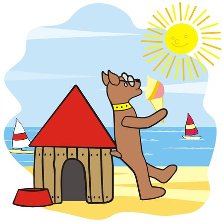 dog and house, funny illustration, vector icon