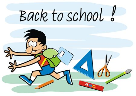 Vector Illustration Keywords: Back to school, boy with schoolbag and supplies