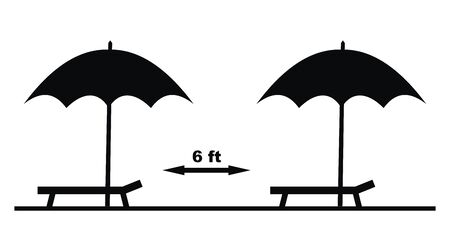 location of parasols, safe distance of 6 ft, vector icon