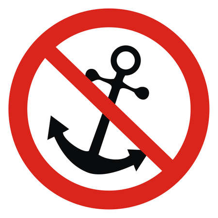 no mooring, black silhouette of anchor at red circle frame