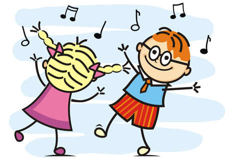 dancing and singing kids, dancing couple, funny vector illustration