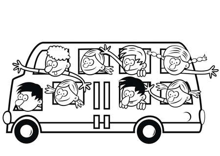happy kids at bus, coloring book, vector humorous illustration