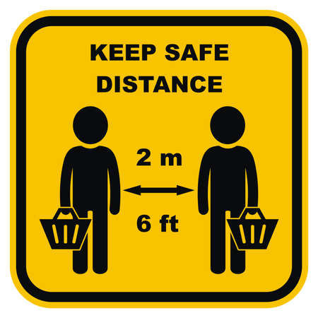Keep safe distance, people with shopping cart, vector icon