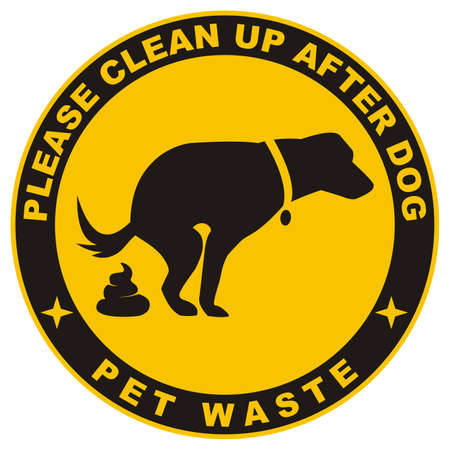 Clean up after your dog, black silhouette of dog with excrement at circle yellow frame, vector illustration