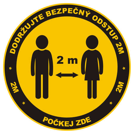 Safe social distance, people, circle vector icon, label on floor, Czech inscription