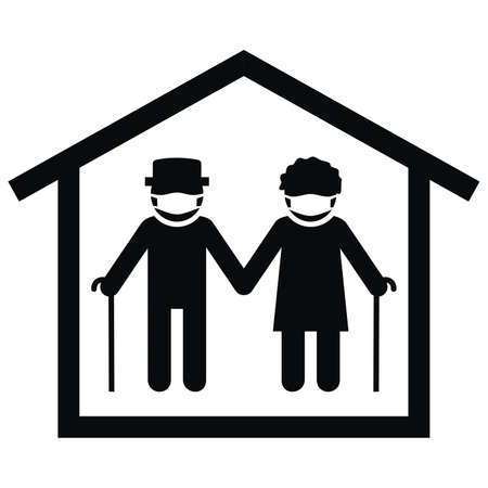 senior with mask at house, black silhouette, vector icon