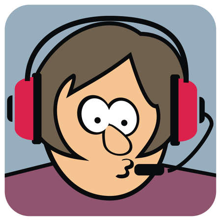 Woman with headset, humorous vector illustration