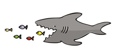 shark and fish, vector humorous illustration