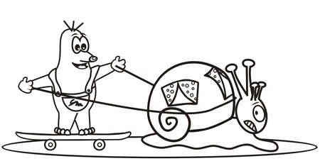 snail and mole, coloring book, vector illustration