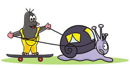 snail and mole, vector illustration Illustration