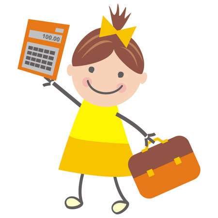 Girl and calculator, funny vector illustration