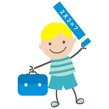 Boy with school bag and math textbook, vector illustration