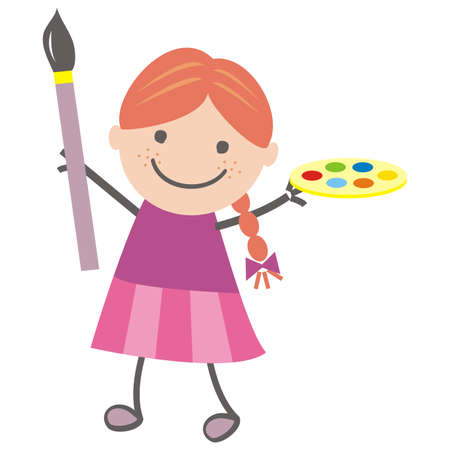 Girl and painting, vector illustration 向量圖像