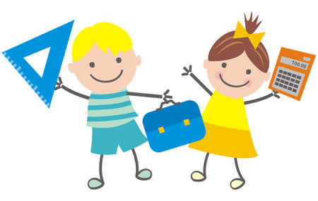 School children, boy and girl, vector illustration Ilustrace
