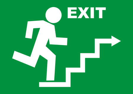 emergency exit, white vector icon on green background, man running away from danger Ilustracje wektorowe