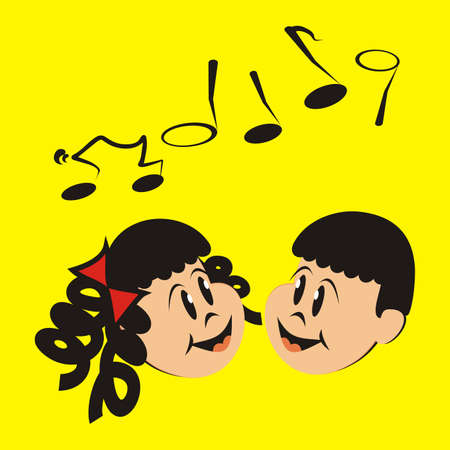 singing girl and boy, smiling vector illustration on yellow background Иллюстрация