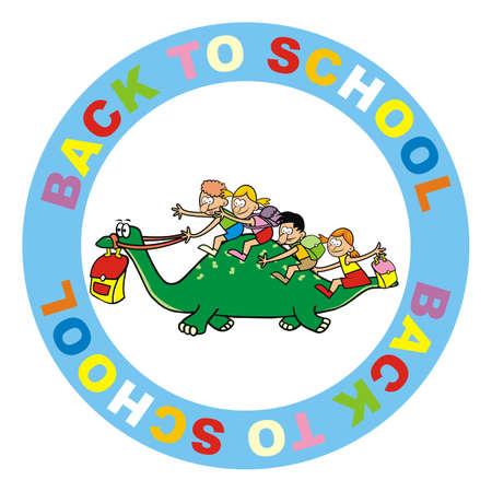 Back to school, kids on dinosaur, funny vector illustration at circle frame Illustration