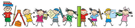 Teacher and school children, mathematics, smiling vector illustration
