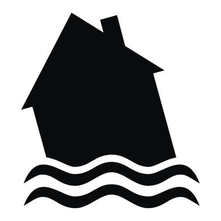 Home insurance for floods, black vector icon