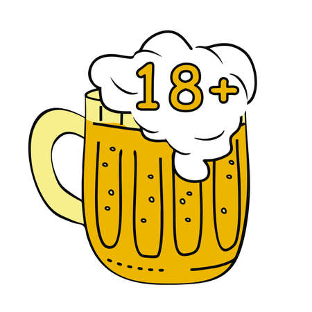 Beer at glassful, alcohol drink, eighteen years, vector icon