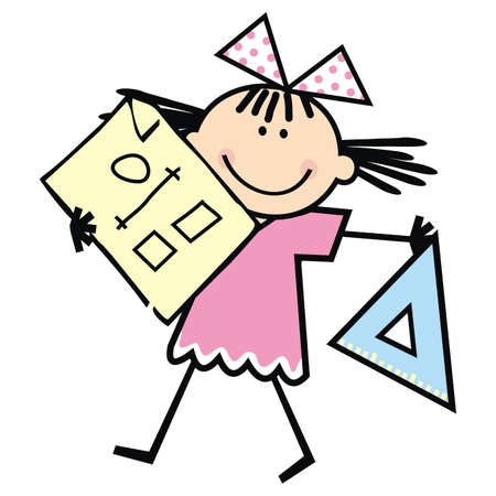 Girl with triangle for drawing and and a sheet of paper, smiling vector illustration