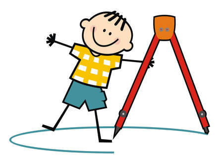 A boy with a compass draws a circle, funny vector illustration