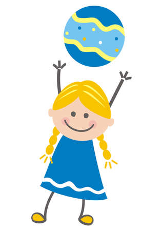 Girl and ball, color vector illustration Vettoriali
