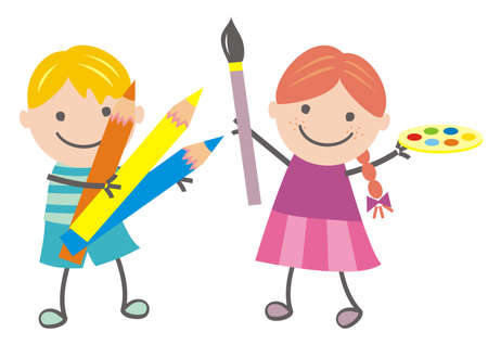 Kids and painting, humorous vector illustration. Girl with brush and palette of colors and boy hold crayons.