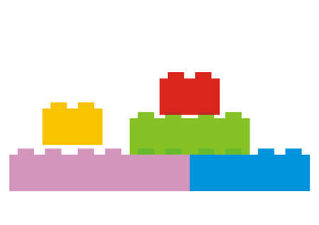 Building blocks toy, multicolored vector icon