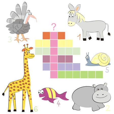 crossword, spring, vector illustration of animals