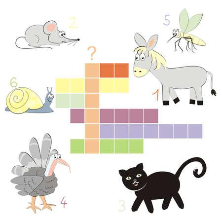 crossword, autumn, vector illustration of animals