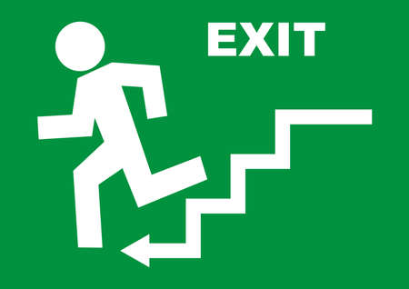 emergency exit, white vector icon on green background, man running away from danger Ilustracja