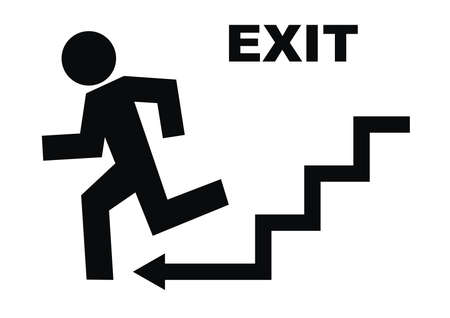 emergency exit, black vector icon on white background, man running away from danger