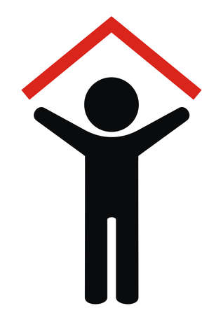person with a roof over his head, vector icon