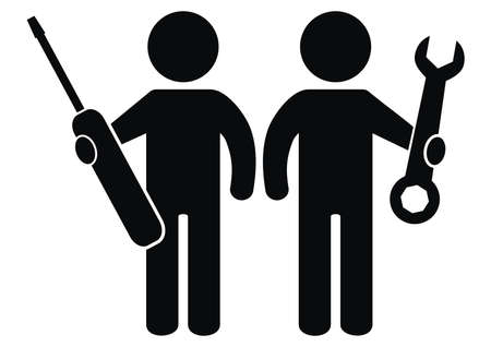 Two figure with tool, screwdriver and wrench, vector icon, black silhouette