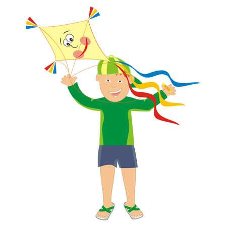 Boy and kite, color vector illustration Vettoriali
