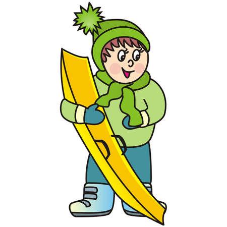 boy and bobsled, winter sport, vector illustration