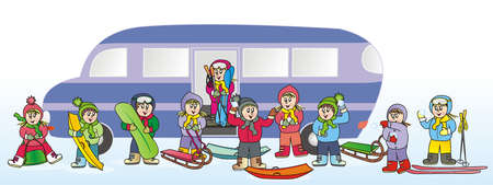 children and bus, winter sport, vector illustration