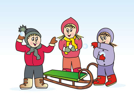 three children with sled, snowballing, funny vector illustration