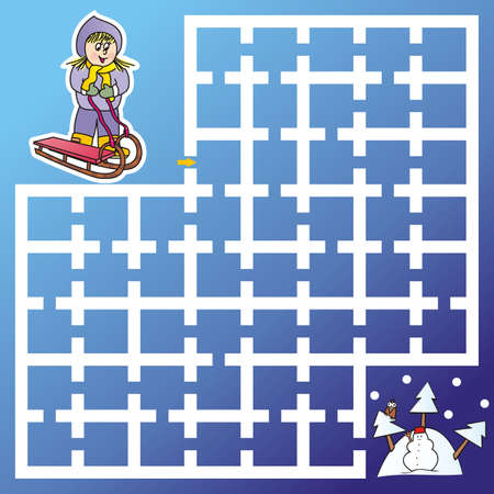 Maze, girl with sledge finds way to the mountain, vector illustration